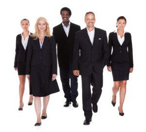 21477434 - happy group of business people standing over white background
